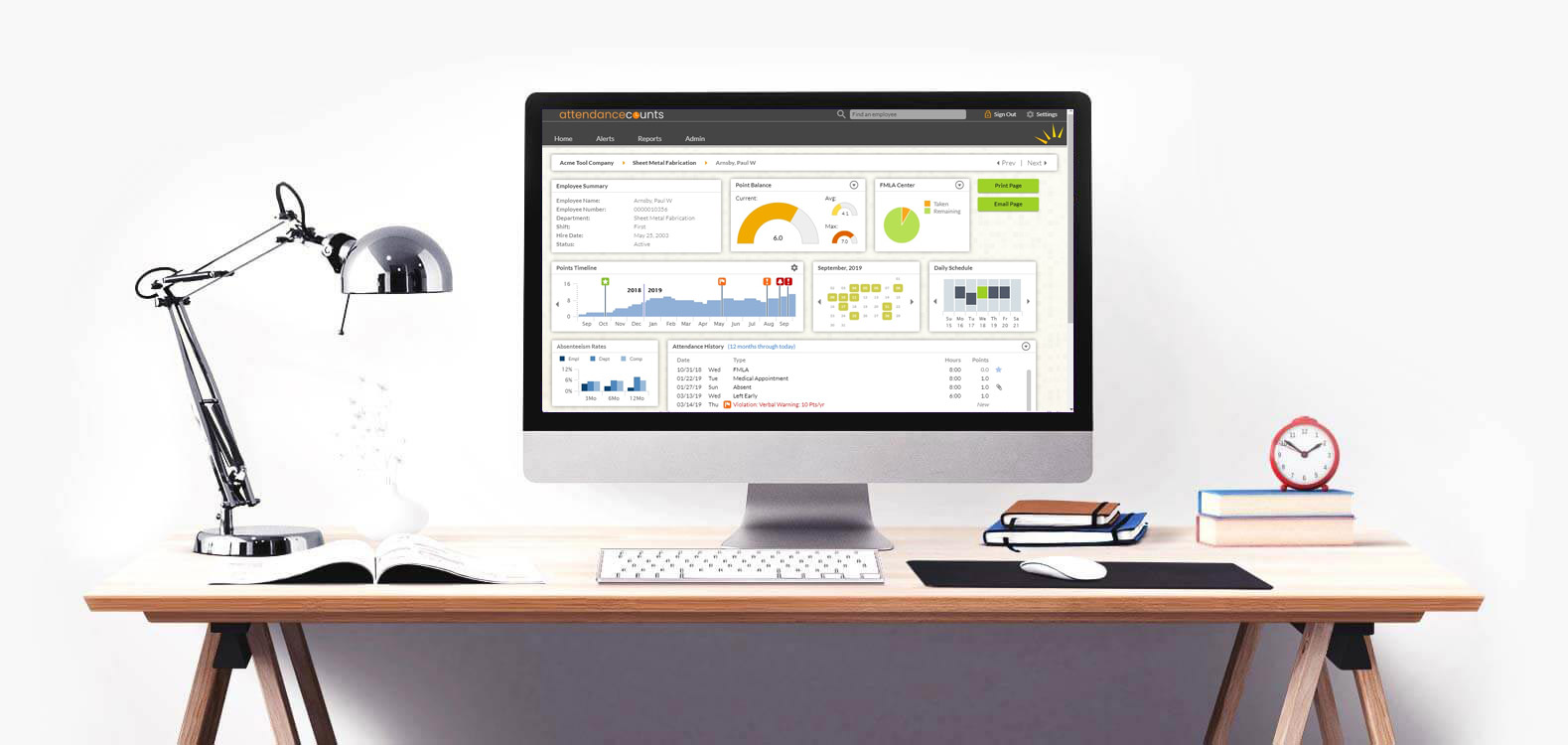 Workstation showing Essential Time Software